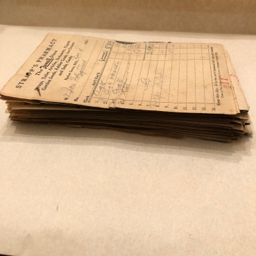 Our collection of receipts from Strapp's Pharmacy