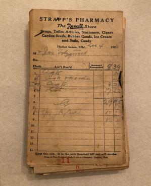 Joseph Fitzgerald's handwritten receipt, Dec. 4, 1925