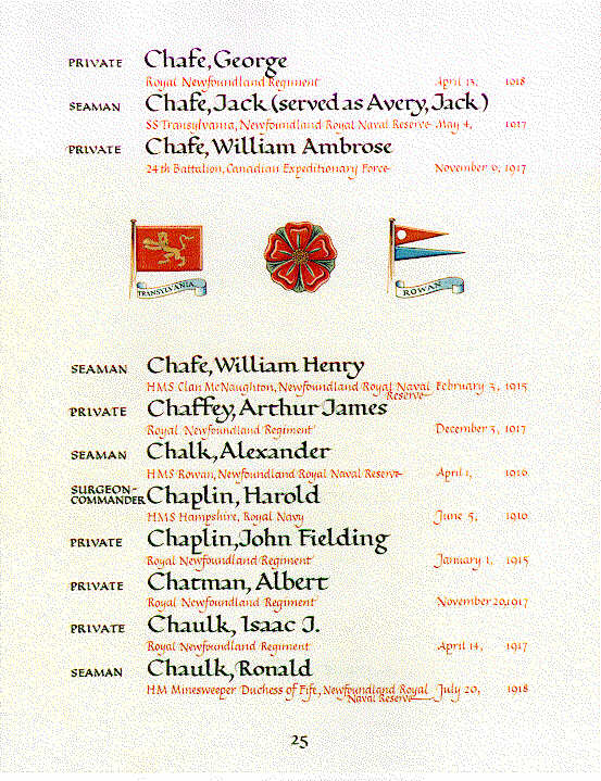 Chafe, William Ambrose Book of Remembrance Ottawa