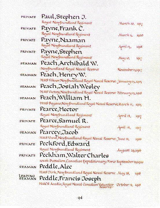 Payne, Stephen Book of Remembrance Ottawa