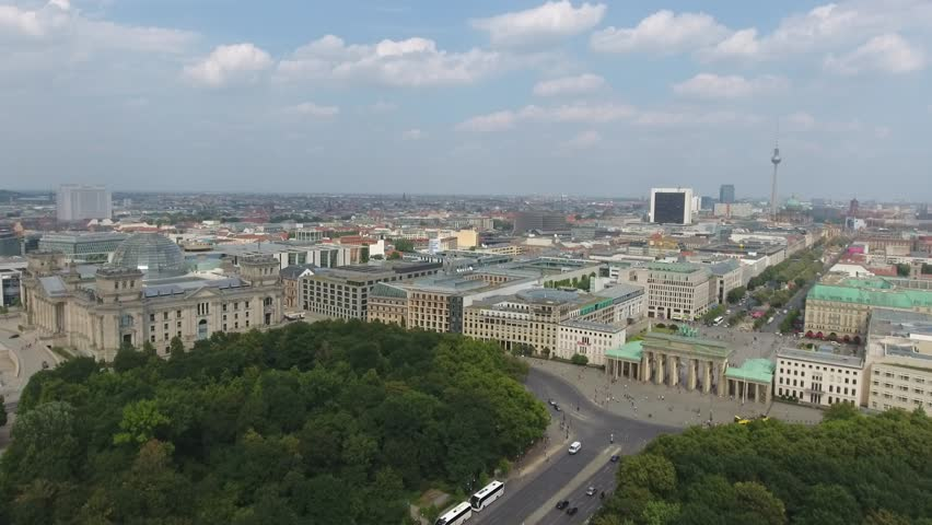 Aerial View of Berlin, Brandenburg Gate (right)